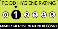 Has a food hygiene rating of 1