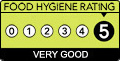 Has a food hygiene rating of 5