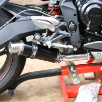 Black Stubby Moto GP Exhaust on Steves Triumph Street Triple R