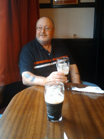 Bob enjoying a guinness at the Loch Leven hotel