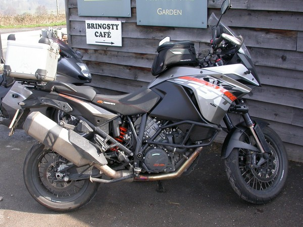 Steve's KTM 1190 Adventure outside Bringsty cafe
