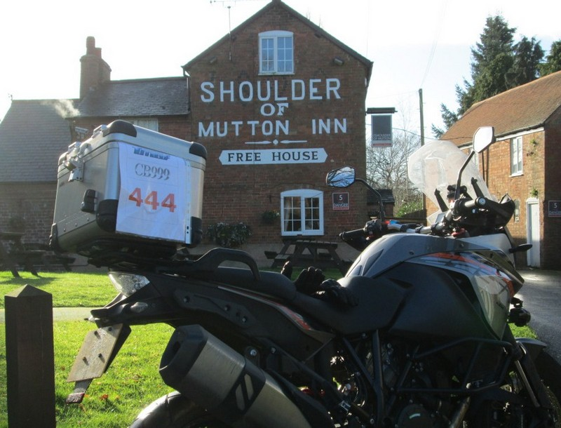 KTM 1190 Adventure outside the Shoulder of Mutton pub