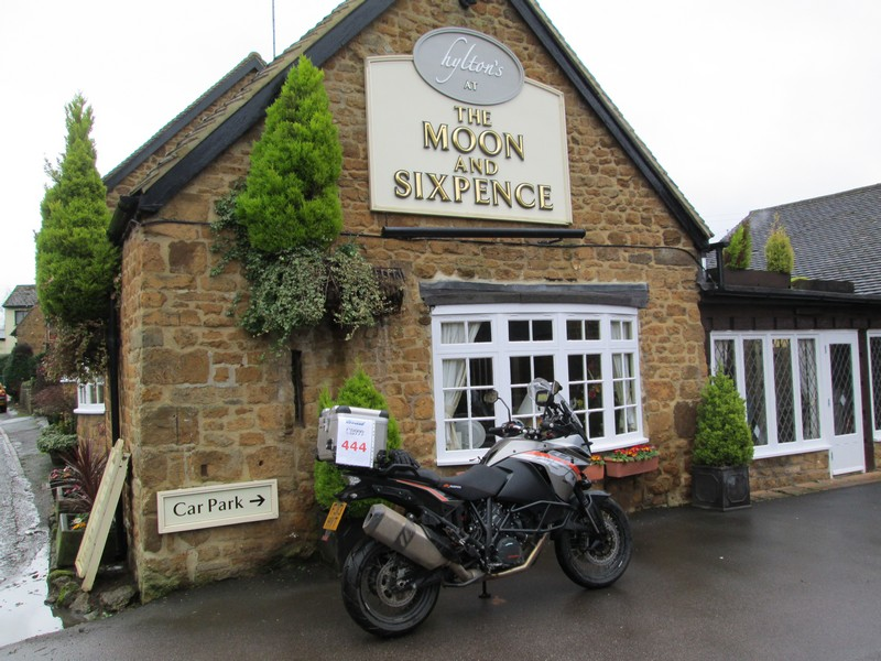 KTM 1190 Adventure outside the Moon and Sixpence pub