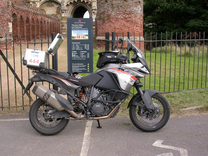 Steve's KTM 1190 Adventure at the Hawaiian Eye Cafe at Thornton Abbey and Gatehouse