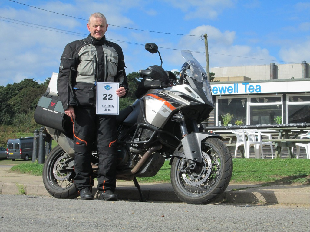 Steve and his KTM 1190 Adventure at Sizewell Cafe