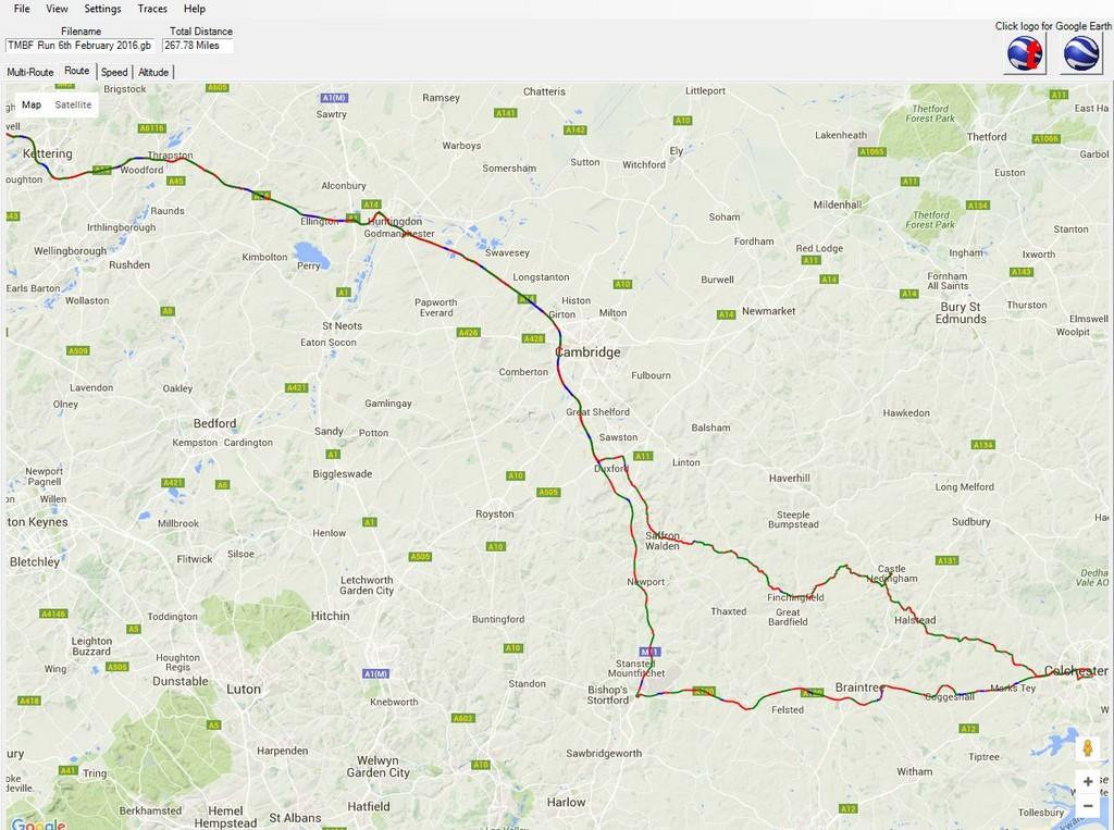 TMBF Run 6th February 2016 - Route