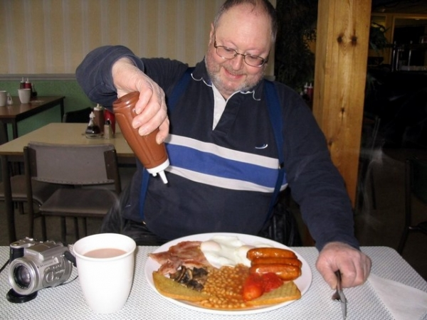 Bob enjoying a Fromes Hill Cafe Full English Breakfast