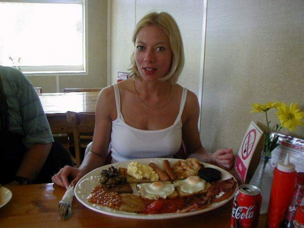 Elaine at the Midway Truck Stop with her Desperate Dan breakfast