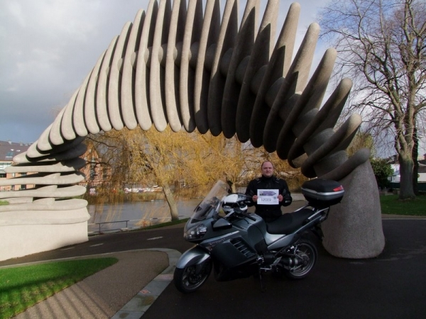 Andy and his Kawasaki GTR1400 at the Quantum Leap Sculpture
