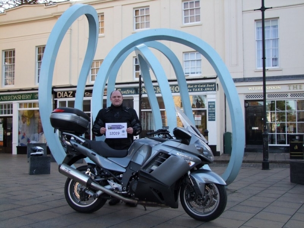 Andy and his Kawasaki GTR1400 at the Sprint Sculpture