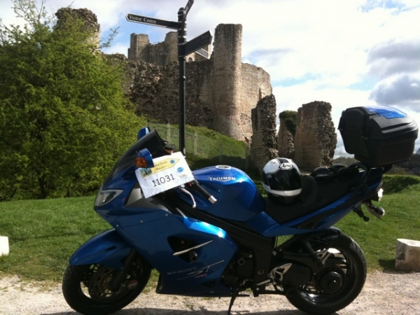 Andy's Triumph Sprint ST outside Conisbrough Castle