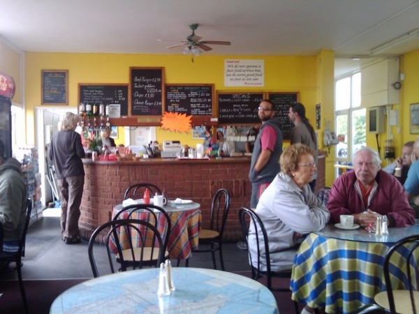 Inside Wellesbourne airfield cafe