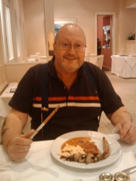 Bob enjoying his breakfast at The Green Hotel, Kinross