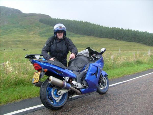 Bob and his Honda Blackbird, somewhere in Scotland