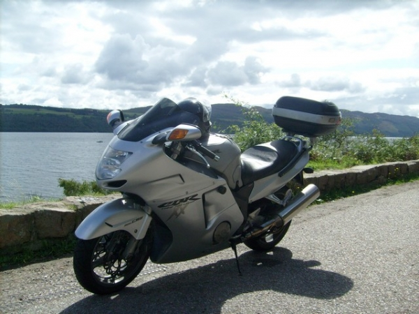 Rig's Honda Blackbird next to Loch Ness