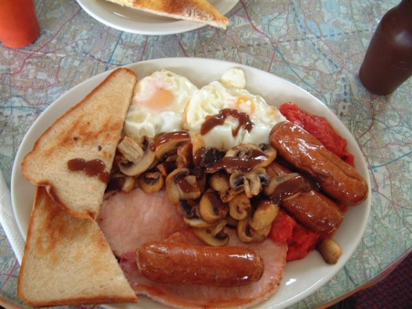 Full English Breakfast at the Touchdown Cafe, Wellesbourne airfield