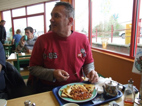 Chinny with his Crossgates breakfast