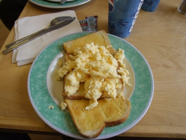 Scrambled eggs at Crossgates Cafe