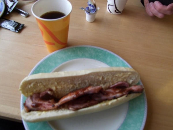 A bacon baguette from Crossgates Cafe