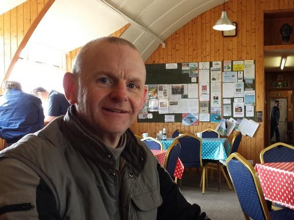 Steve inside Shobden Airfield Cafe