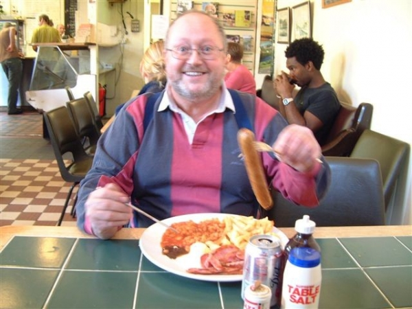 Bob enjoying his Grindleford Station Cafe sausage