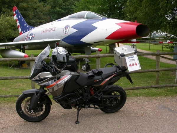 KTM 1190 Adventure outside the Norfolk & Suffolk Aviation Museum