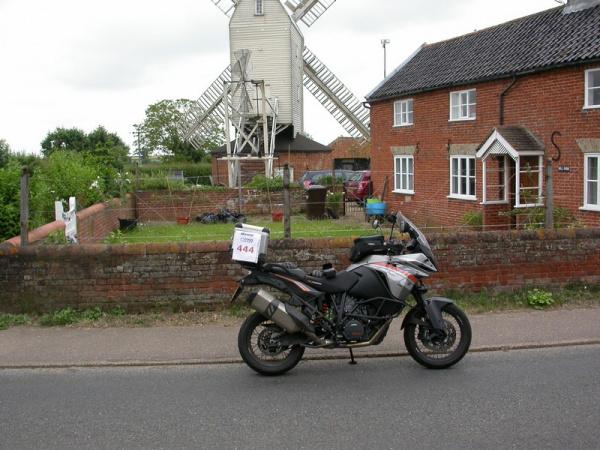 KTM 1190 Adventure outside Stanton Windmill