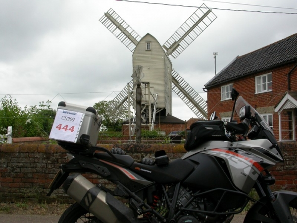 KTM 1190 Adventure outside Stanton Windmill