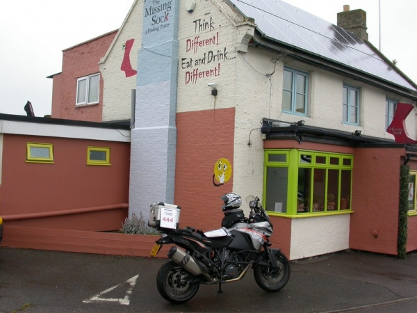 KTM 1190 Adventure outside the Missing Sock pub