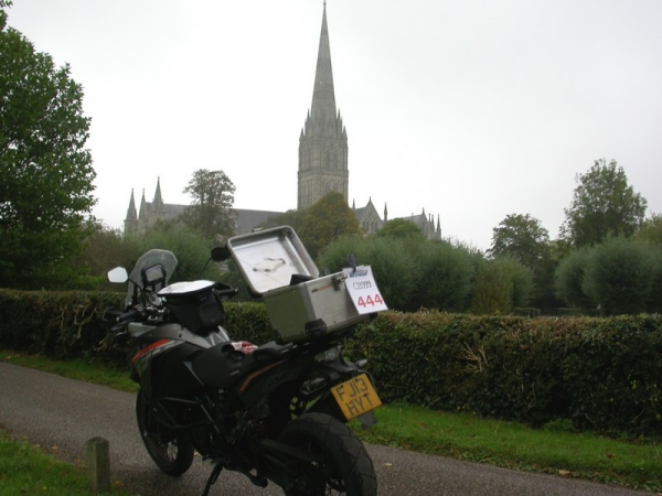 Steve's KTM 1190 Adventure at Salisbury Cathedral