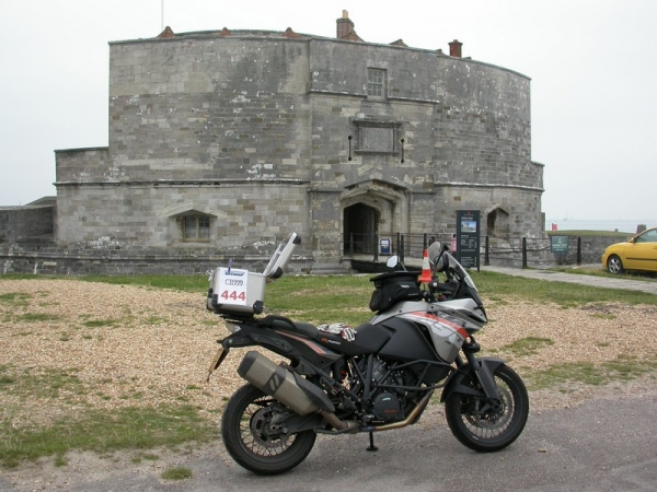 Steve's KTM 1190 Adventure at Calshot Castle