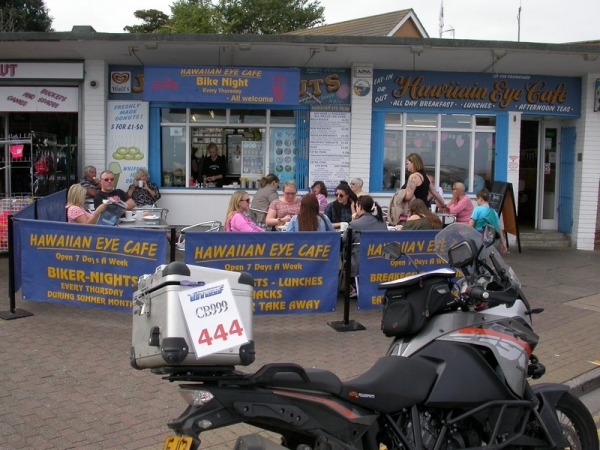 Steve's KTM 1190 Adventure at the Hawaiian Eye Cafe in Cleethorpes