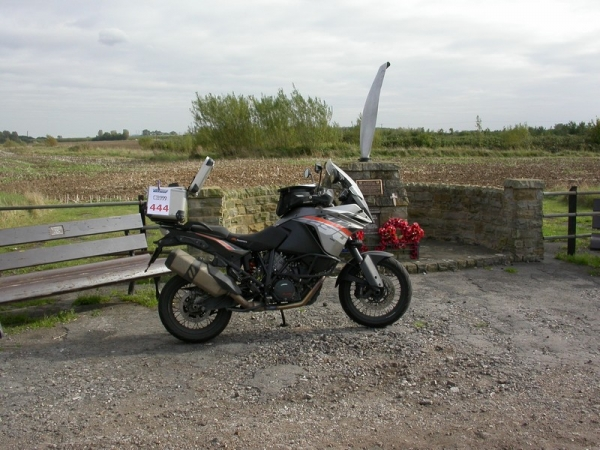 Steve's KTM 1190 Adventure at the USAF Memorial at RAF Goxhill