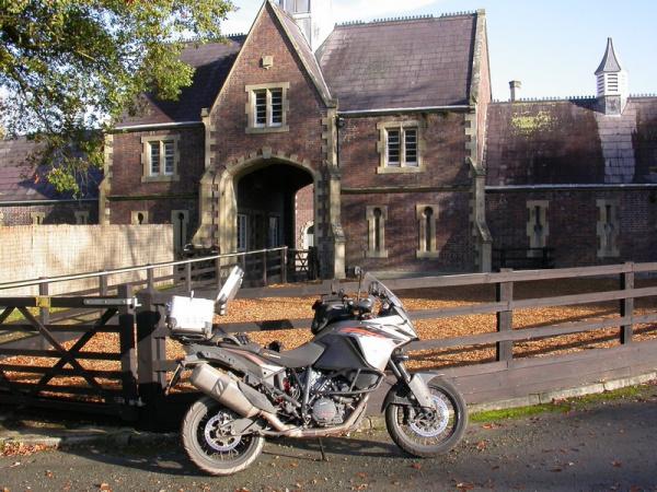 Steve's KTM 1190 Adventure at Leighton Hall Gateway