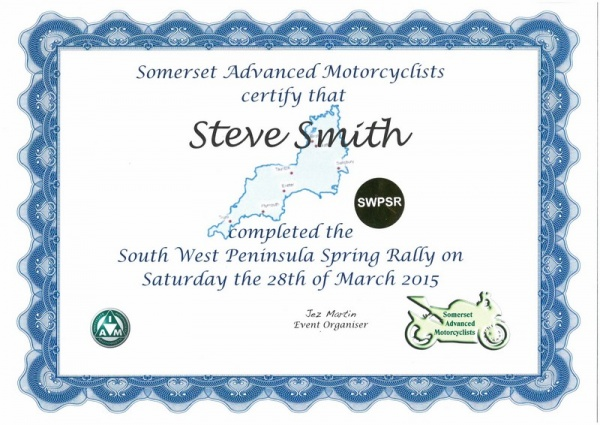 South West Peninsular Rally 2015 Certificate