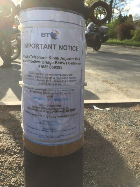 Bettws Cedewain BT Notice