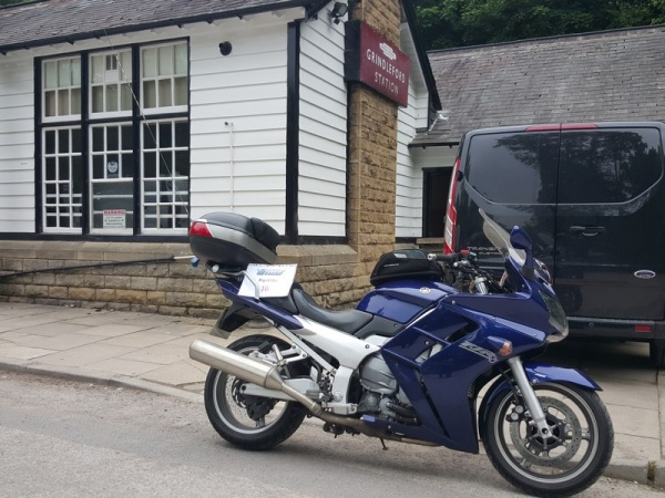 Rig's Yamaha FJR1300 outside Grindleford Station Cafe