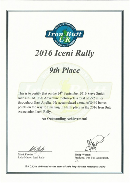 Iceni Rally 2016 Certificate
