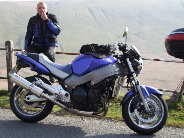 Windsor and his Honda X11 in Elan Valley