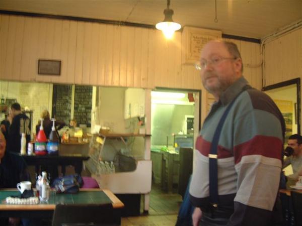 Bob inside Grindleford Station Cafe