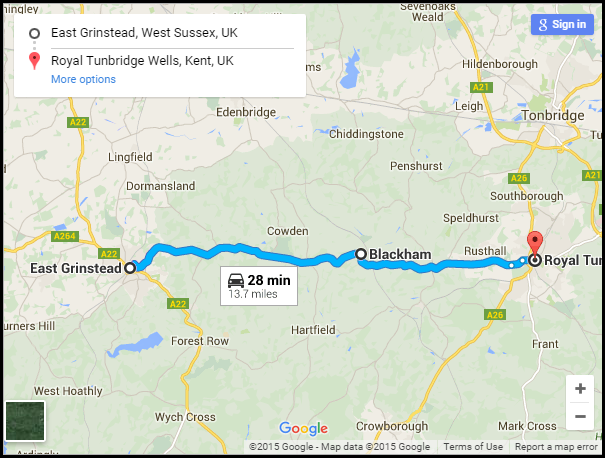A264 - East Grinstead to Royal Tunbridge Wells