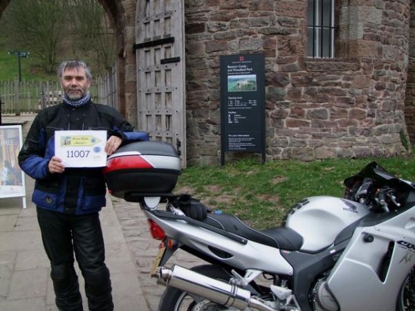 Rig and his Honda Blackbird outside Beeston Castle