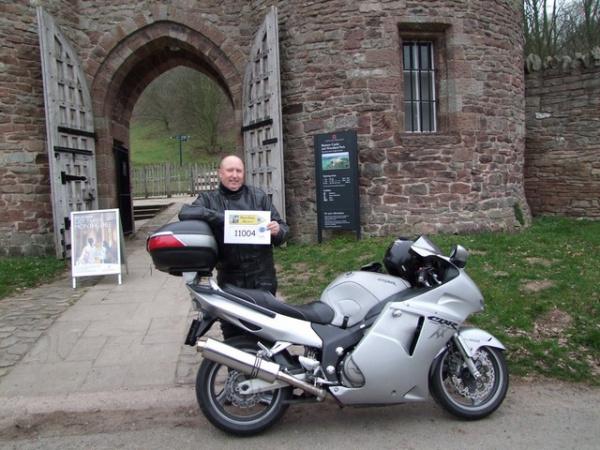 Bonzo and his Honda Blackbird outside Beeston Castle