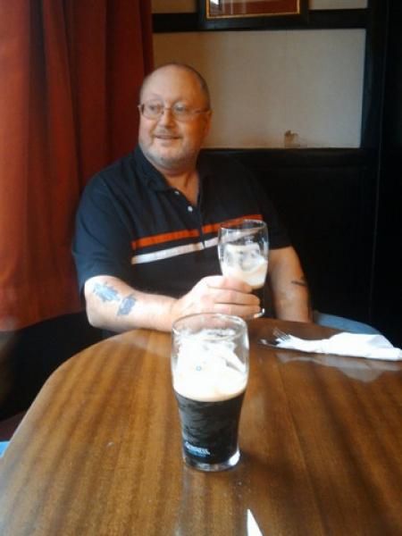 Bob enjoying a guinness at the Loch Leven hotel