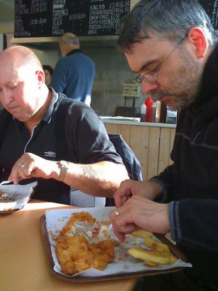 Rig and Bob enjoying Fish and Chips