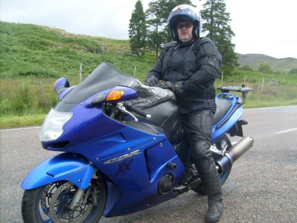Bob and his Honda Blackbird somewhere in Scotland
