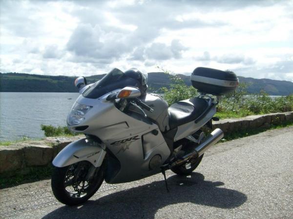 Rig's Honda Blackbird next to Loch Ness