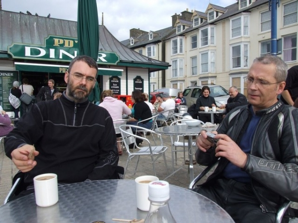 Rig and Ray having a quick coffee break in Aberystwyth