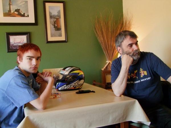 Scott and Rig inside Bringsty Cafe