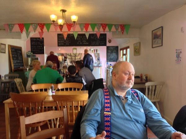 Bob inside Bringsty Cafe